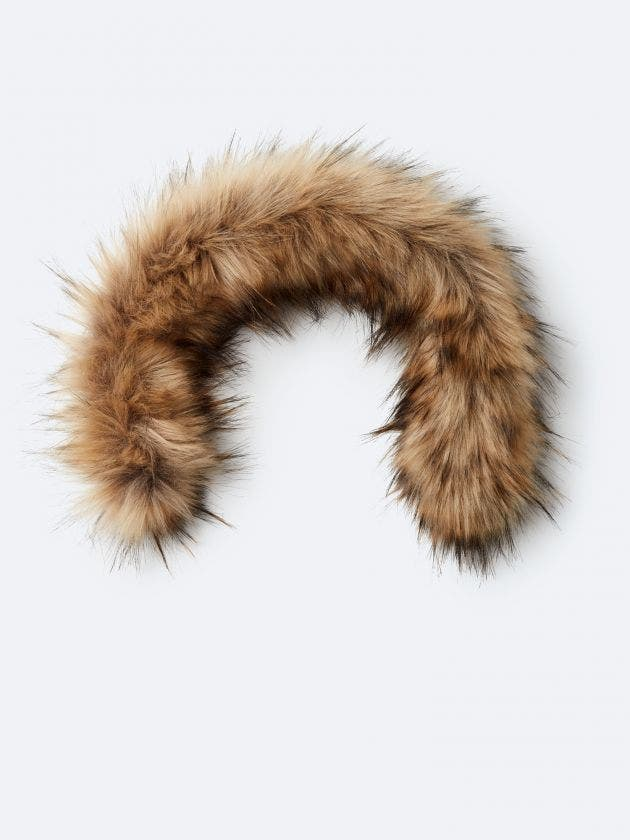 Beige synthetic fur with zipper