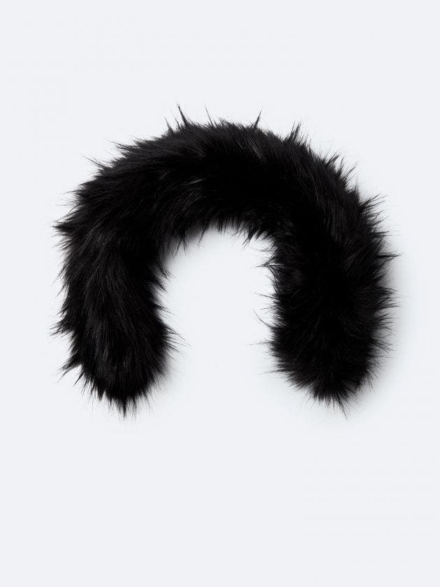 Black synthetic fur with zipper